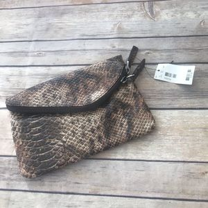 The Limited Snakeskin Print Clutch Purse